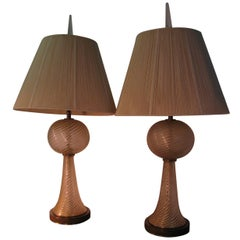 Pair Of Mid Century Murano Barovier & Toso Table Lamps