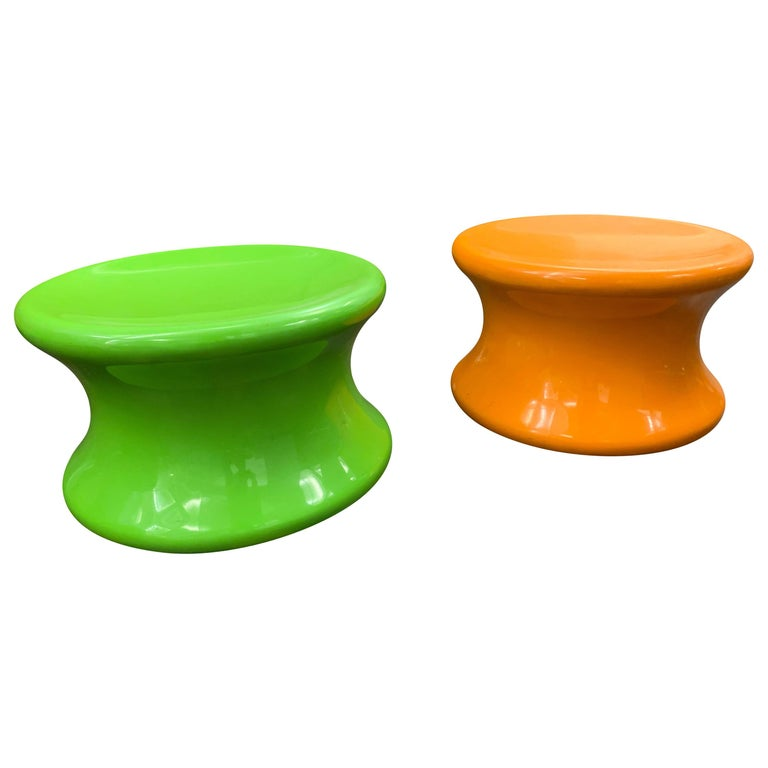 Set of Two Orange and Green Mushroom Designed by Eero Aarnio For Sale