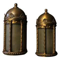 English 19th Century Pair of Bronze Antique Wall Lanterns