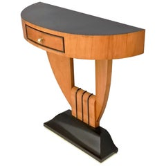 Art Deco Demilune Cherrywood and Ebonized Wood Console Table, Italy, 1940s