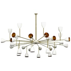 1 of 2 Large Italian Metal & Brass Supernova Chandelier 32 Lights Stilnovo Style