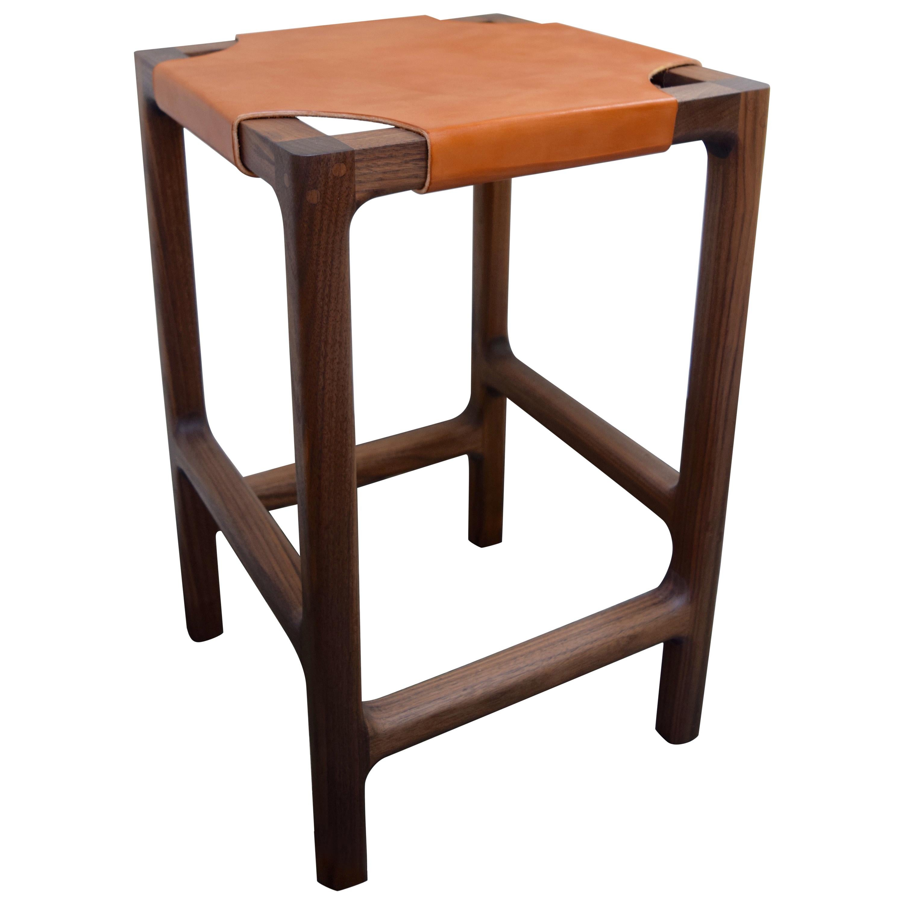 Reyes Backless Counter Stool in Walnut with Russet Leather