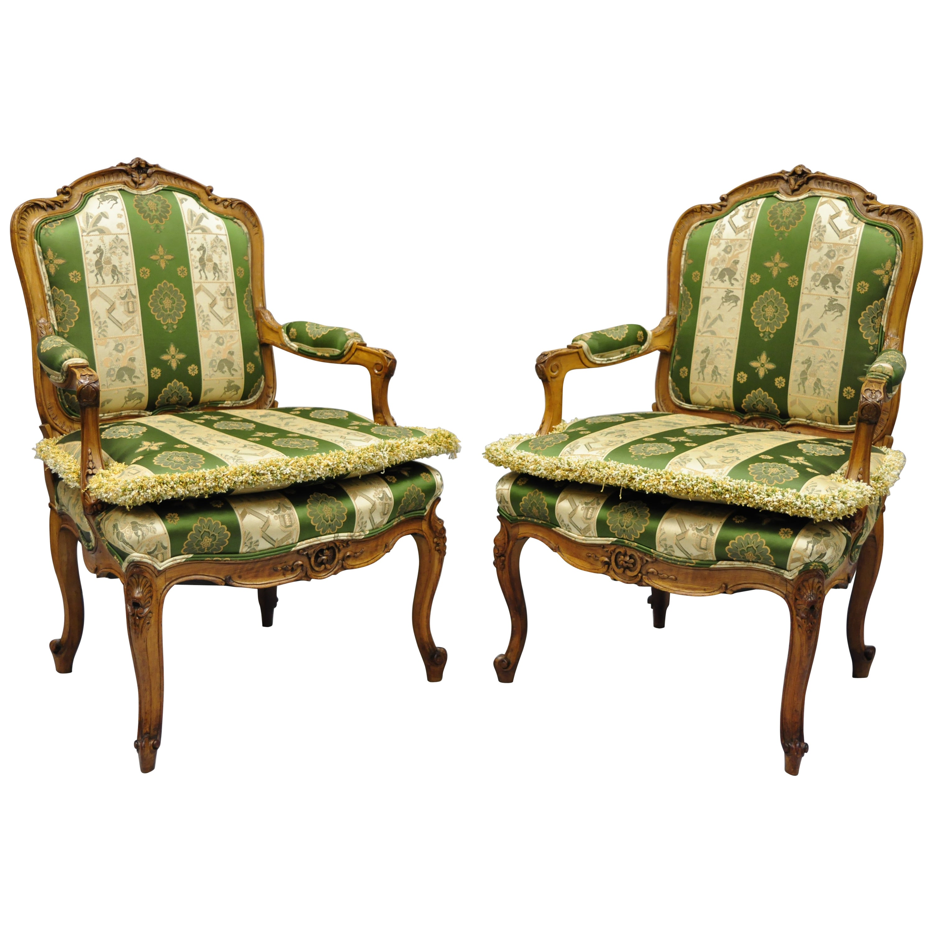 Pair of French Louis XV Style Cream Gold Walnut Fauteuil Armchairs