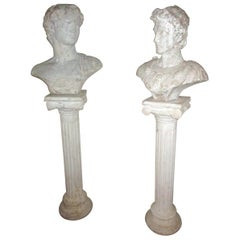 Pair of Greek God Garden Statue Busts on Ionic Column Pedestals