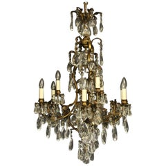 French Bronze and Crystal 10-Light Birdcage Antique Chandelier