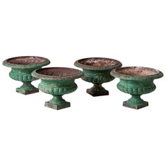 Set Four French Cast Iron Garden Urns, circa 1900