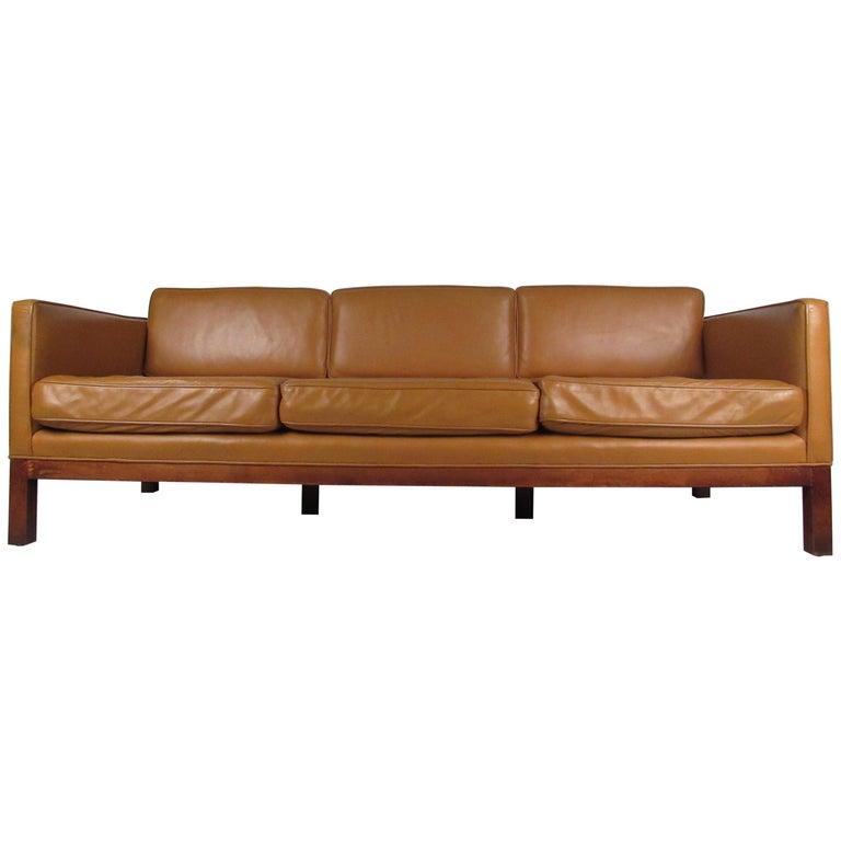 Midcentury Borge Mogensen Style Leather Sofa For Sale