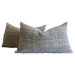 Antique Homespun Linen Indigo Blue and Natural Stripe Lumbar Pillows