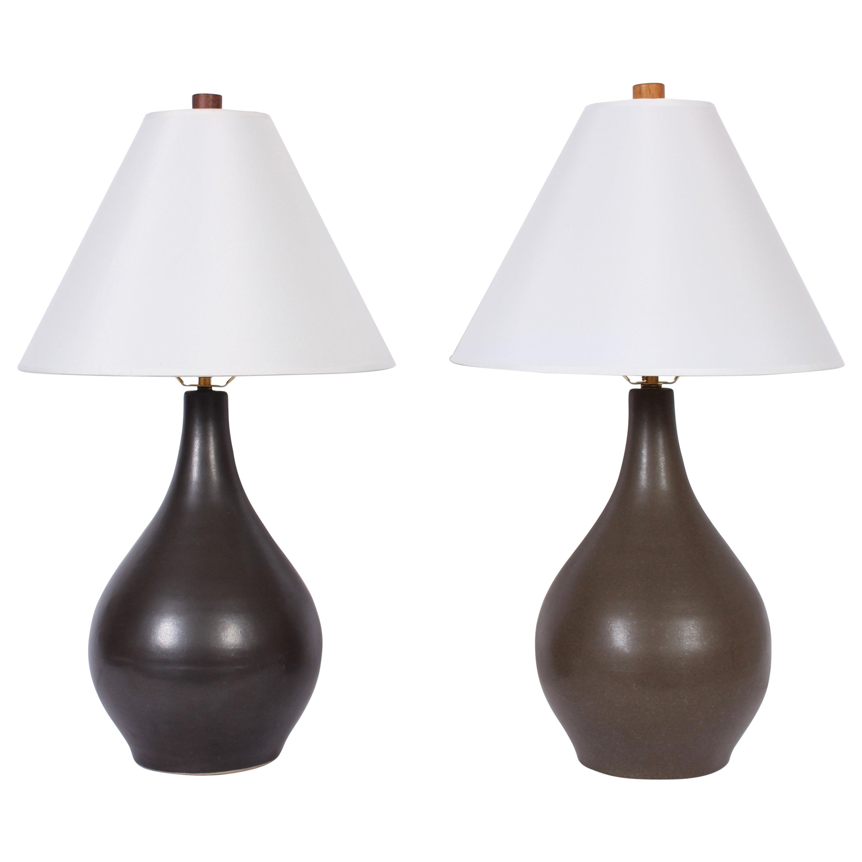 Two Gordon & Jane Martz for Marshall Studios Matte Glazed Stoneware Table Lamps