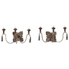 Pair of  Italian Papier Mache', Iron, and Wooden 3-Arm Sconces 19th-20th Century