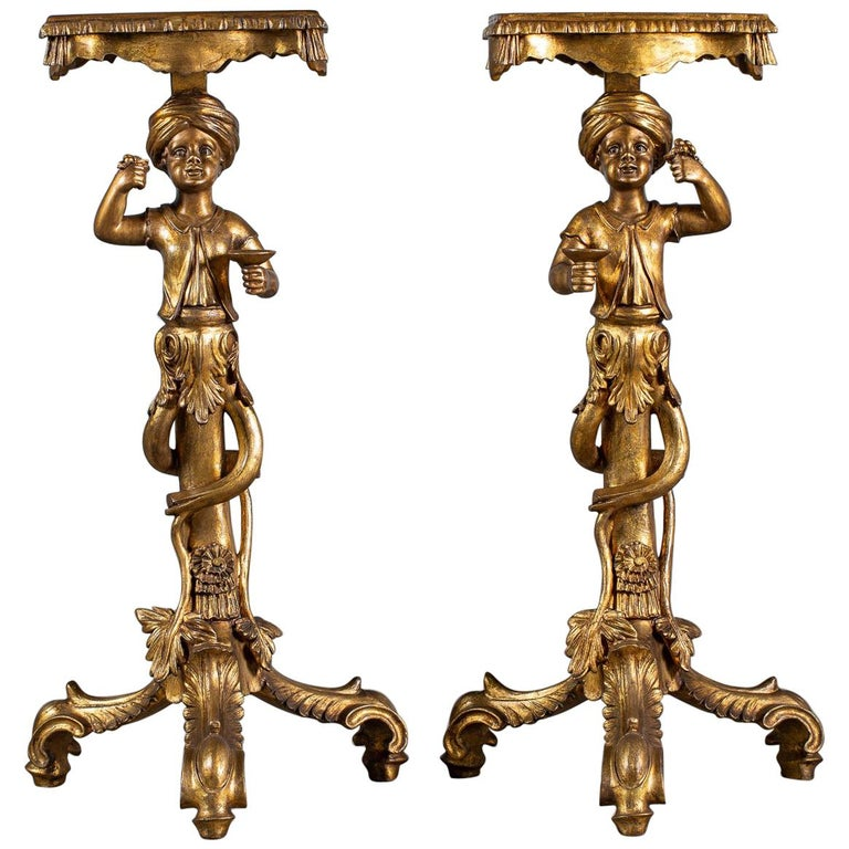 Pair Vintage Italian Venetian Gilt Blackamoor Figures Pedestal Column circa 1950 For Sale