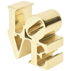 Robert Indiana Vintage Brass Love Paperweight / Sculpture