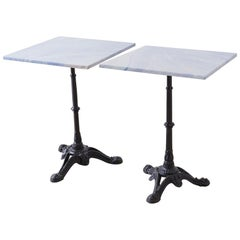 Pair of Granite and Iron French Bistro Cafe Tables