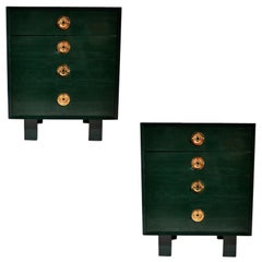 Pair of George Nelson for Herman Miller Green Lacquer Pier Chests or Dressers