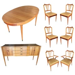 Formal Midcentury Dining Room Set Table, Chairs, Buffet