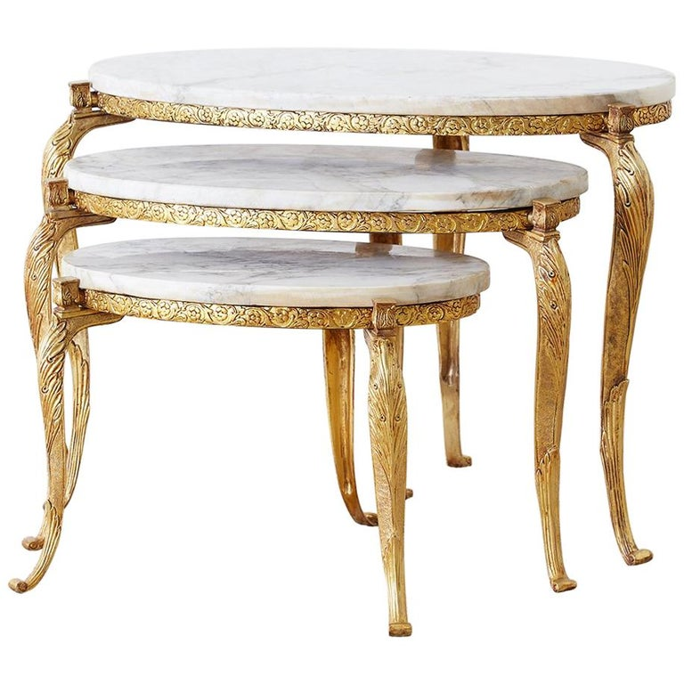 Nest Of Italian Dor 233 Bronze And Marble Drink Tables For