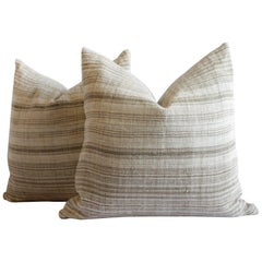 Antique Homespun Linen Pillows in Natural and Brown Stripe by Full Bloom Cottage