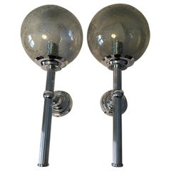 Pair of 1960s Chrome and Smoked Air Bubbles Glass Sconces