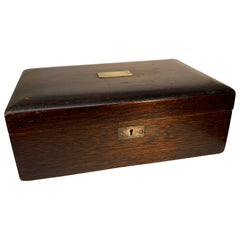 Late 19th Century Wooden Box with Polished Zinc Insert and Brass Plaque