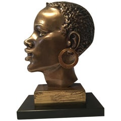 African Native Head Brass Bust on Marble Base in the Style of Hagenauer
