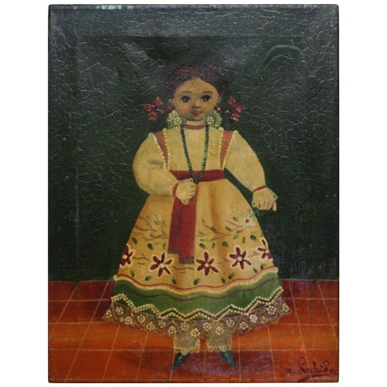 Agapito Labios Mexican 1898-1996 Oil on Canvas Folk Art For Sale