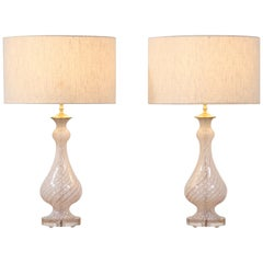 Italian Murano Latticino Glass Lamps, a Pair