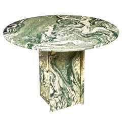 Modern Italian Calacatta Verde Marble Round Table, Pedestal Base, Mid-Century