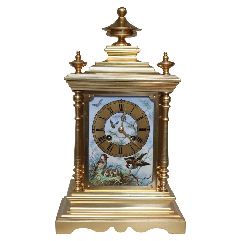 Victorian Gilt and Porcelain Panel Mantel Clock For Sale