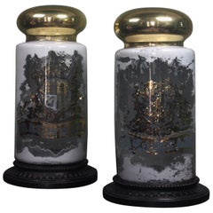 Pair Oversized Chemist Apothecary Species Dispensing Jar Verre Eglomise