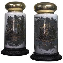 Pair Oversized Chemist Apothecary Species Dispensing Jar Verre Eglomise