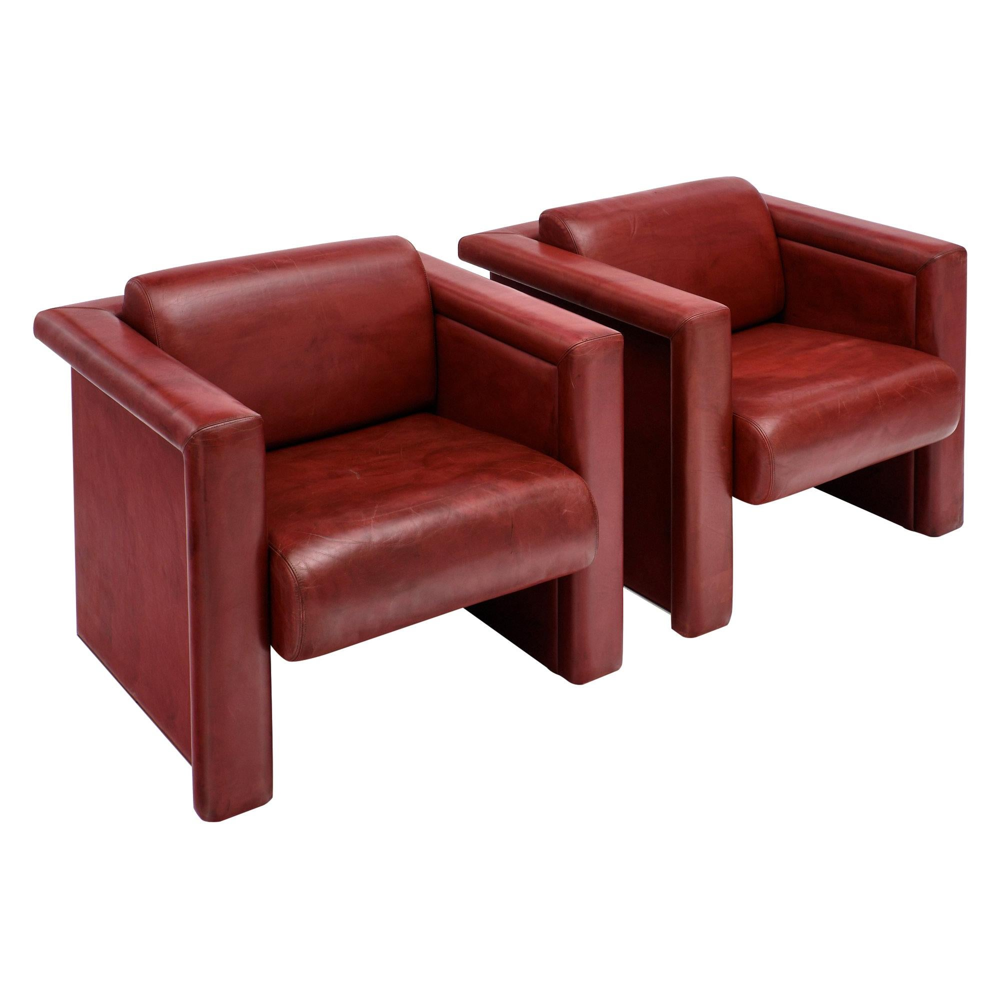 Red Leather Knoll Armchairs