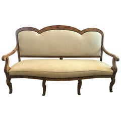Antique Carved Wood French Settee Sofa Loveseat in Belgian Linen
