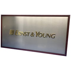 Large Vintage Ernst & Young Company Wall Sign