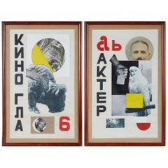 Rare Pair of Russian Avant Garde Collage by Mikhael Menkov