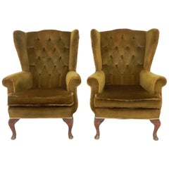 Pair of Wingback Armchairs Early 20th Century Includes Recovering Tufted Button
