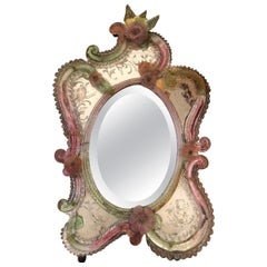 19th Century Hand Blown Murano  Etched Floral Mirror