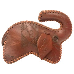 Handmade Leather Decorative Elephant