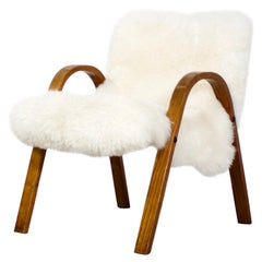 Steiner Sheepskin Bow Wood Chair, 1948, France