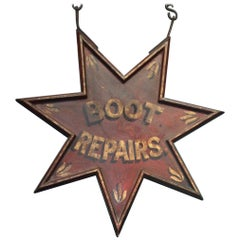 "Early 20th Century Red Star Trade Sign Folk Art ""Boot Repair"" R Kennetts"