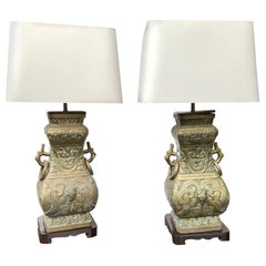 Pair of Mid-20th Century James Mont Style Brass Table Lamps
