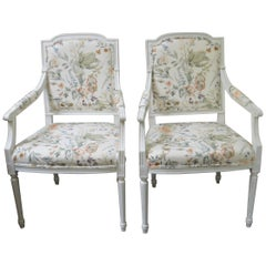 Pair of Louis XVI Style White Painted Armchairs, Upholstered with a Print Fabric