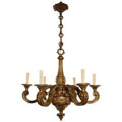 Louis XVI Style Bronze Six Light Chandelier