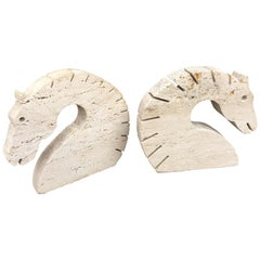 Travertine Marble Horse Head Bookends by Fili Mannelli for Raymor