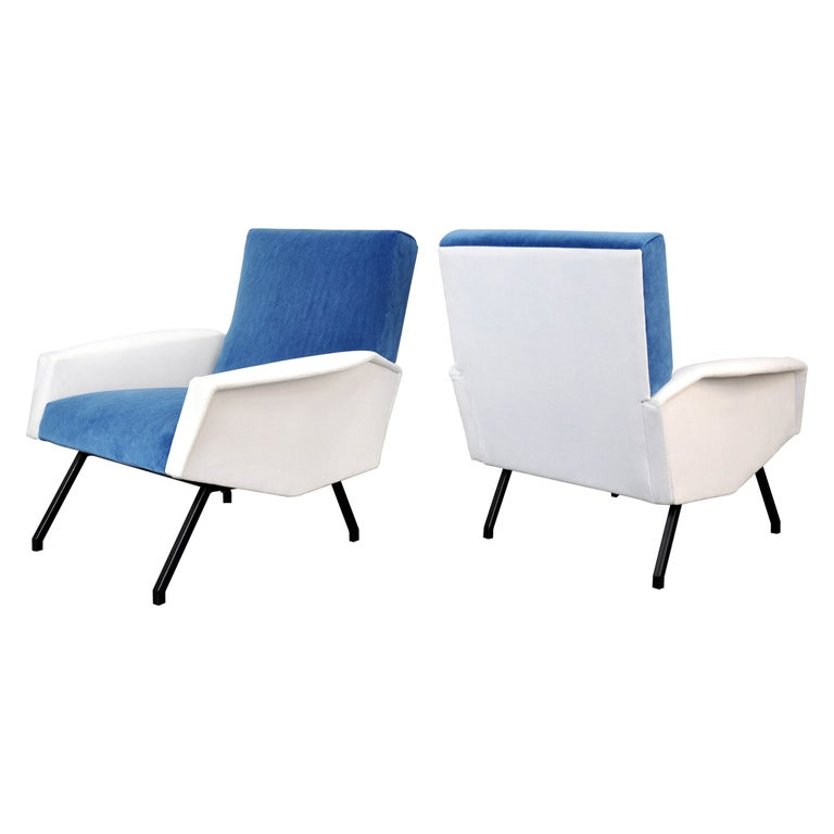 Pair of Mid-Century Velvet Lounge Chairs For Sale