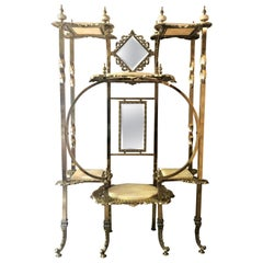 Antique English High Victorian Brass and Onyx Mirrored Etagere, circa 1890-1910