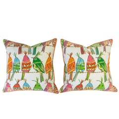Throw Pillows with Colorful Bird Print