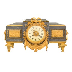 French 19th Century Louis XVI St. Gris St. Anne Marble & Ormolu Pedestal Clock