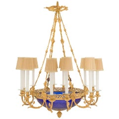 French 19th Century Louis XVI Style Cobalt Blue Glass and Ormolu Chandelier