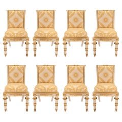 Set of Eight Italian 19th Century Neoclassical Dining Chairs from Tuscany