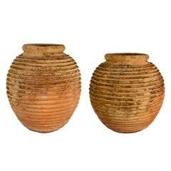 Pair of Italian 18th Century Terra Cotta Olive Jars